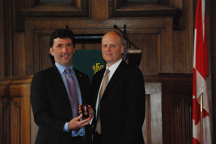 Richard receives the Diamond Jubilee Medal from MP Paul Dewar – Oct 2012